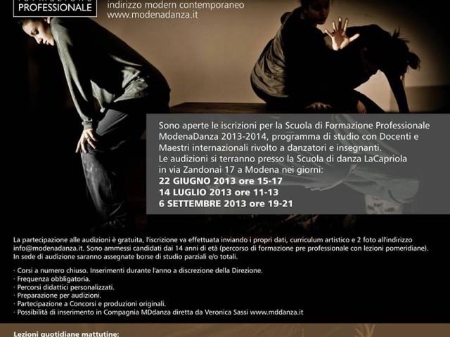 ULTIMA AUDIZIONE CORSO DI FORMAZIONE PROFESSIONALE MODERN CONTEMPORANEO